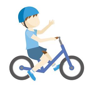 幼児用キックバイク_ヘルメット人物男児女の子バランスバイクのイラスト自転車運動のイメージ