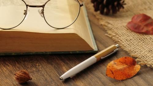 読書の秋 オレンジ色になった落ち葉
