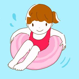 浮き輪で遊んでいる女性のイラスト