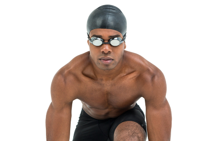 Swimmer ready to dive