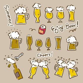 ジョッキ、グラスに注がれた生ビール 飲み会