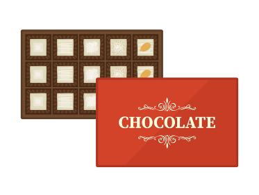箱に入ったホワイトチョコレートスイーツのイラスト