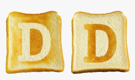 食パンに焼印風のアルファベットの大文字のD