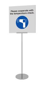コロナウイルス感染予防の検温のサインスタンドの3dレンダリング