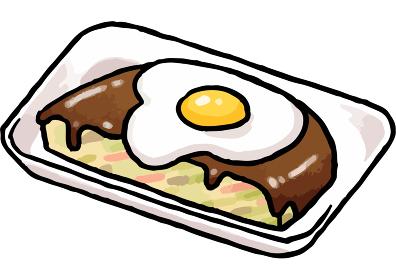 【手描きベクター食べ物イラスト素材】トレーに入ったお好み焼きのイラスト【縁日・お祭り・屋台の食べ物】