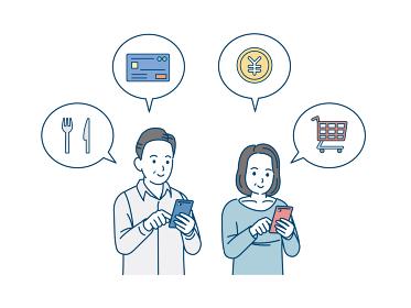 スマートフォンで決済する中高年の男女 買い物 宅配 ミドル イラスト素材