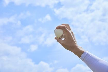 野球のボールを持つ手