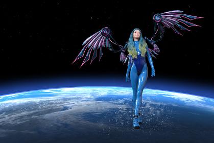 機械の翼をつけた青いボディースーツを着た女性が宇宙の地球のそばを上を向きながら飛ぶ