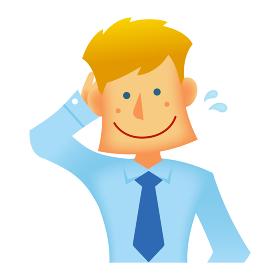 外人・西洋人 若い男性サラリーマン・ビジネスマン 上半身イラスト (照れる・恥ずかしい・赤面)