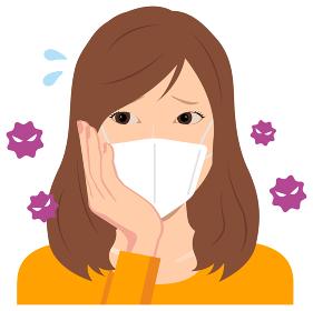 マスクを着けた若い女性 (上半身) イラスト(ウイルスを怖がっている) / コロナウイルス