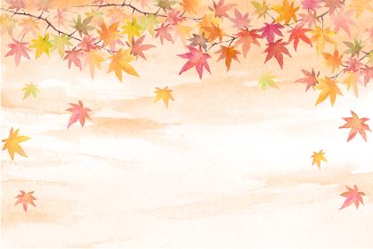 秋空にもみじの背景 水彩イラスト