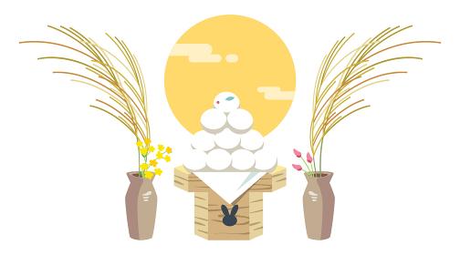 お月見団子とすすきのやさしいタッチのイラスト