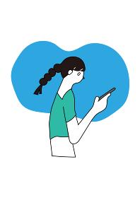 スマートフォンを見るカジュアルな女性のイラスト