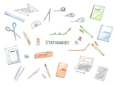 文具 ステーショナリー 手描き水彩イラスト