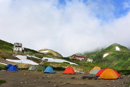 夏の立山の雷鳥沢キャンプ場 テント 登山 トレッキング 山岳 残雪 アウトドア 立山連峰 観光地