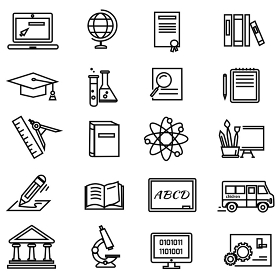 Set of black education thin, lines, outline icons. Items for study ruler, pencil, microscope, backpack, laptop, palette, diplome on white background. For web and mobile applications