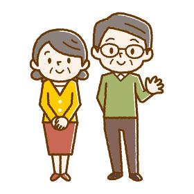 幸せシニア夫婦 手描き風