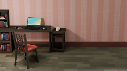 ピンクストライプ模様の壁紙の書斎 3DCG レンダリング
