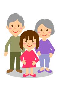祖父母 3人 女の子 全身