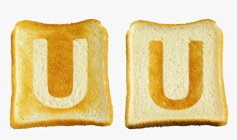 食パンに焼印風のアルファベットの大文字のU