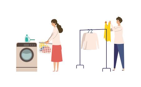 洗濯する男女のイラスト
