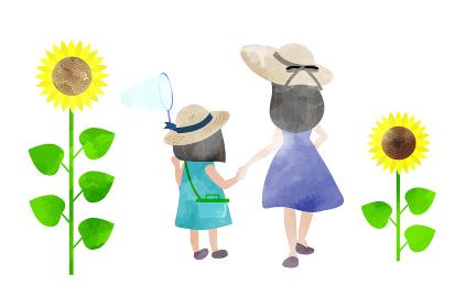 ひまわり畑で虫取りをする親子 水彩風のイラスト