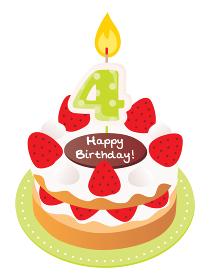 4歳のキャンドルをのせた苺と生クリームのお誕生日ケーキ