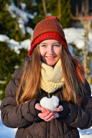 girl with snow heart