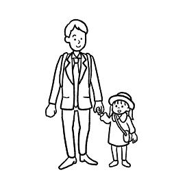 手を繋ぐ親子の線画イラスト