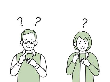 スマートフォン 操作がわからない 老夫婦 シニア 高齢者 男女 電話 イラスト素材