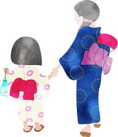 浴衣姿の母子 水彩風のイラスト