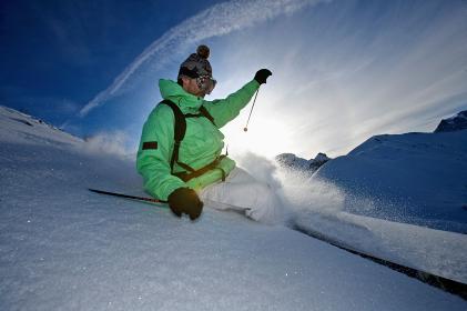 Skier turning off piste.