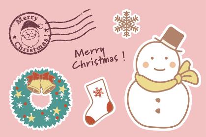 かわいいクリスマスのイラスト素材(雪だるま)