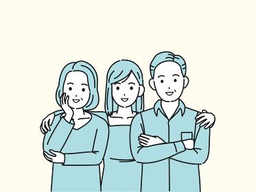中高年の夫婦と娘 3人家族 ミドル 仲良し イラスト素材
