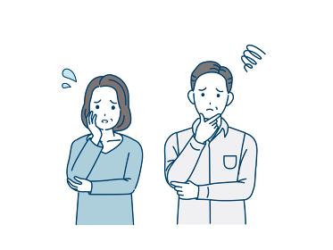 中高年の夫婦 困る 悩み 不安 表情 ポーズ 男女 ミドル イラスト素材