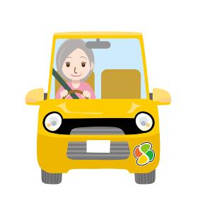 可愛らしい自動車ドライブのイラスト正面シニアお年寄り老人と紅葉マーク女性お婆さん