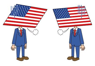 アメリカ国旗落ち込むキャラクター