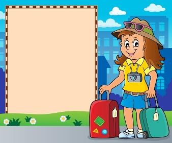 Tourist woman theme frame 2