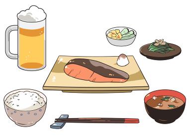 焼き魚定食とビール