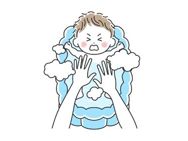 沐浴を嫌がる赤ちゃんのイラスト
