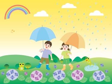 梅雨の紫陽花と子供たちと里山の風景