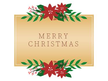 クリスマス向け メタリックゴールドの長方形フレーム