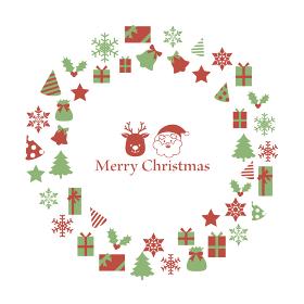 サンタとトナカイを囲むクリスマスのリース型フレーム 緑と赤