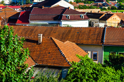 Overview of tile rooftops of old houses. Old buildings architecture. , Romania, Timi葯 County, Lugoj