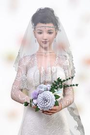 純白のウエディングドレスを着た花嫁がベールをつけブーケを持って目線が下を向く