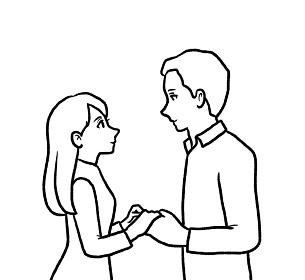見つめ合うカップルのイラスト 線画