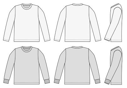 アパレルテンプレート / 長袖Tシャツ・ロンT べクターイラスト (フロント・バック・サイド)