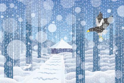 雪景色の中尊寺 イラスト