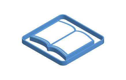 開いた本の青いアイソメトリックアイコンイラスト
