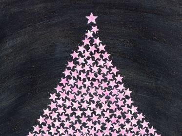 ピンクの星で作ったクリスマスツリー 闇夜の背景